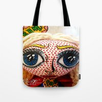 supergirl Tote Bags featuring Supergirl by Chiara Venice Art Dolls