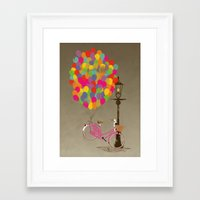 brompton Framed Art Prints featuring Love to Ride my Bike with Balloons even if it's not practical. by Wyatt Design