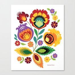 Polish Folk Flowers Red Canvas Print