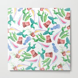 Colorful pink green lilac watercolor cactus Floral Metal Print