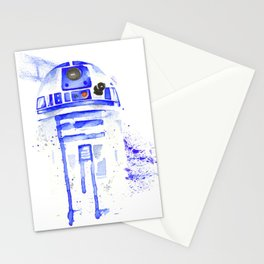 R2-D2 R2D2 droid watercolor Wars Scifi Star FAnart Stationery Cards