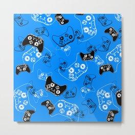 Video Gamer Blue Metal Print