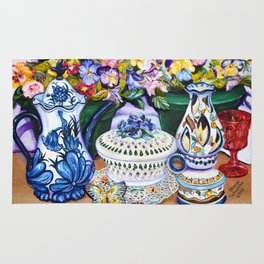 Pansies and Teapot oil Still Life Rug