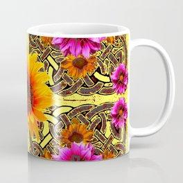 YELLOW SUNFLOWER PURPLE FLORAS CELTIC ART Coffee Mug