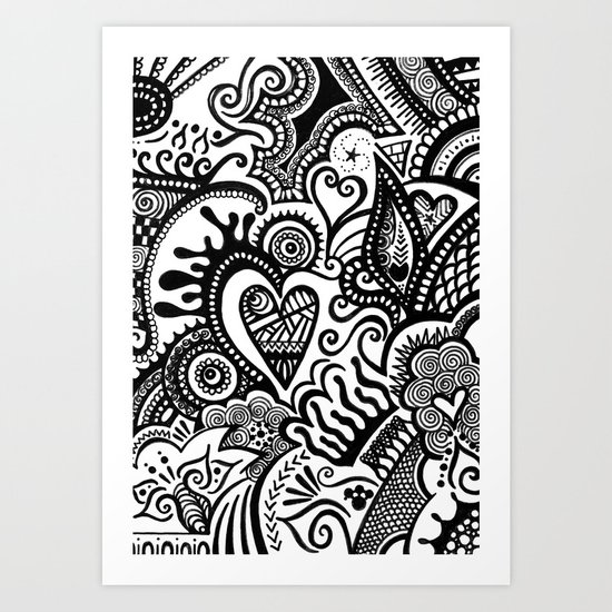 Hearty Arty Doodle Art Print