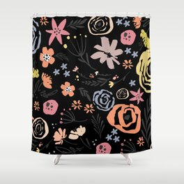 Floral Collage on Black Shower Curtain