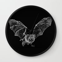 bat Wall Clocks featuring Bat by Cortney Palmer Art