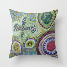 Peaceful Heartfelt Flower Power Throw Pillow