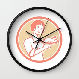 Housewife Serving Chicken Roast Circle Retro Wall Clock