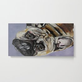 Original art work, oil painting, dog, sad bulldog, animal, funny Metal Print