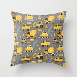 Construction Trucks on Gray Throw Pillow