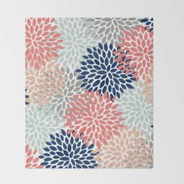 Floral Bloom Print, Living Coral, Pale Aqua Blue, Gray, Navy Decke