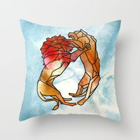 lions Throw Pillows featuring Lions by madbiffymorghulis