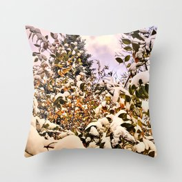 Fresh Snow On Colored Leaves Throw Pillow