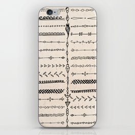 Vintage white modern black bohemian aztec pattern iPhone Skin