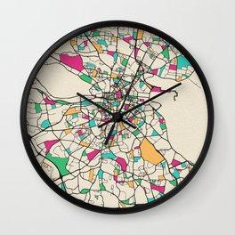 Colorful City Maps: Dublin, Ireland Wall Clock