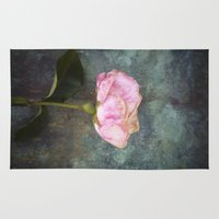 depression Area & Throw Rugs featuring Wilted Rose III by Maria Heyens