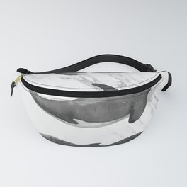 Ocean Whales Marble Black and White Fanny Pack
