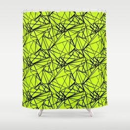 An abstract geometric pattern . Yellow green pattern . Shower Curtain
