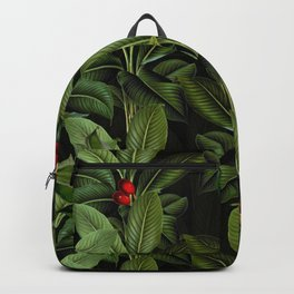 Vintage Exotic Midnight Botanical Leaves And Fruits Garden Backpack