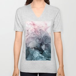Blush and Paynes Gray Flowing Abstract Reflect Unisex V-Neck