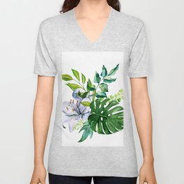 Flower and Leaves Unisex V-Neck