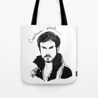 captain hook Tote Bags featuring Captain Hook by *deim lacquer