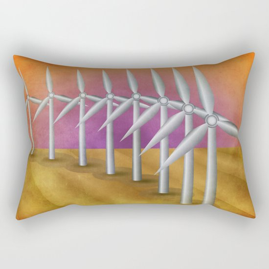 Windfarm at sunset Rectangular Pillow