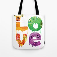 cartoon Tote Bags featuring cartoon by Cheese Alien