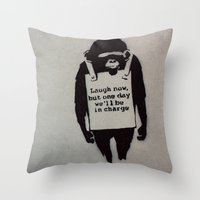 banksy Throw Pillows featuring Banksy  by Ashley Griswold Photography