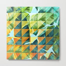 Abstract Geometric Tropical Banana Leaves Pattern Metal Print
