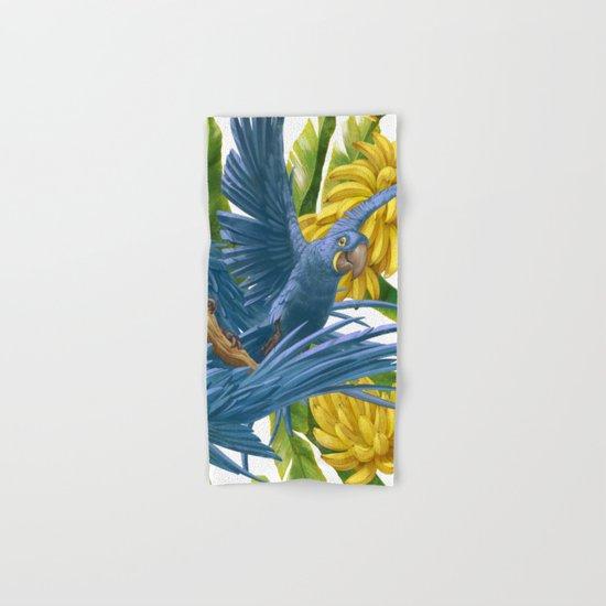 Hyacinth macaws and bananas Stravaganza. Hand & Bath Towel
