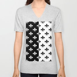 Black & white royal lilies Unisex V-Neck