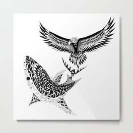 crouching shark hidden eagle Metal Print