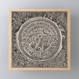 Sepia New Orleans Water Meter Louisiana Crescent City NOLA Water Board Metalwork Framed Mini Art Print