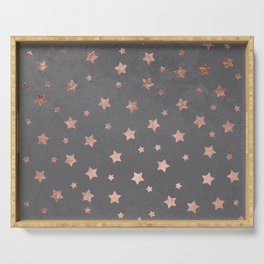 Rose gold Christmas stars geometric pattern grey graphite industrial cement concrete Serving Tray