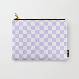 White and Pale Lavender Violet Checkerboard Carry-All Pouch