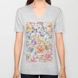 Modern abstract blush pink coral teal elegant floral Unisex V-Neck