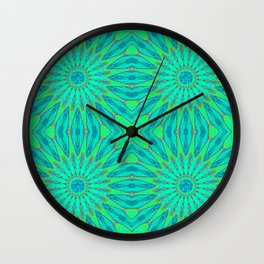 Aqua Green Teal pinwheel flowers Wall Clock