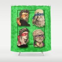 renaissance Shower Curtains featuring Renaissance Mutant Ninja Artists by Rachel M. Loose