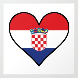 Croatian Flag Heart Art Print