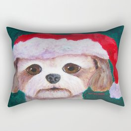 Christmas Shih Tzu By Annie Zeno Rectangular Pillow