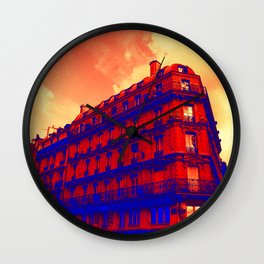 Paris in red and Blue by Lika Ramati Wall Clock