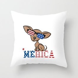 Chiweenie Merica Independence Freedom 4th of July Throw Pillow