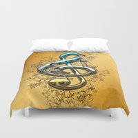 decorative Duvet Covers featuring Decorative clef  by nicky2342
