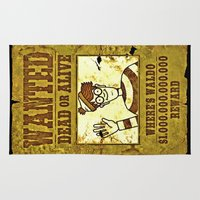 waldo Area & Throw Rugs featuring Where's Waldo Wanted Poster by Silvio Ledbetter
