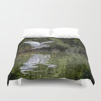 hunting Duvet Covers featuring Egret Hunting by Chris Lord