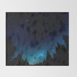 Black Trees Turquoise Milky Way Stars Throw Blanket