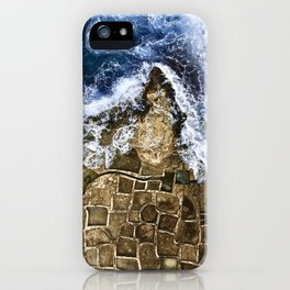 An abstract of the ocean and the coastal rocks. iPhone Case