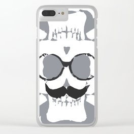 old funny skull art portrait in black and white Clear iPhone Case